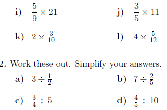 Dividing fractions by whole numbers worksheet information
