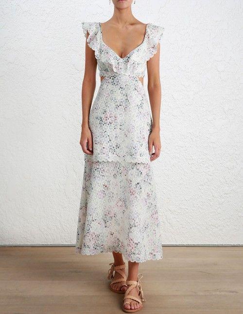 bdd65e562d93 Zimmermann Jasper Honeycomb Tier Dress . Model Image. Our model is 5 8 and  is wearing a size 0