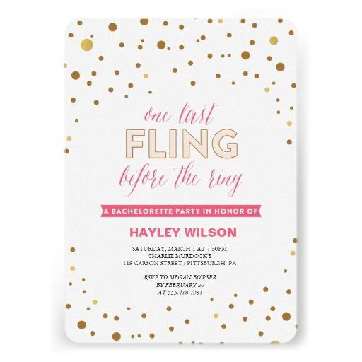 One Last Fling Bachelorette Party Invitation – Customizable Bachelorette Party Invitations