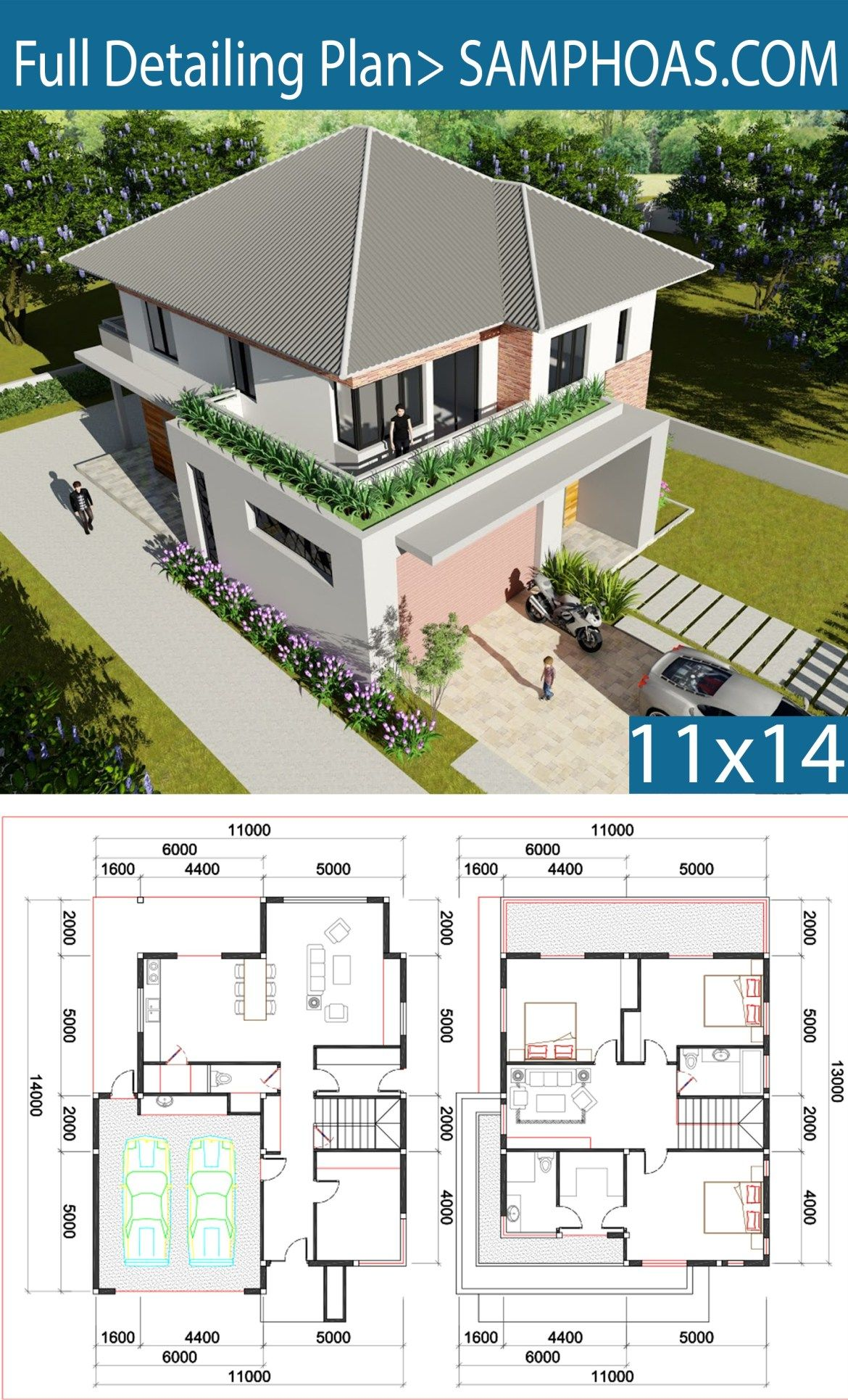 3 Bedroom Villa Design 11x13m Samphoas Plansearch Villa Design Home Design Floor Plans House Layouts