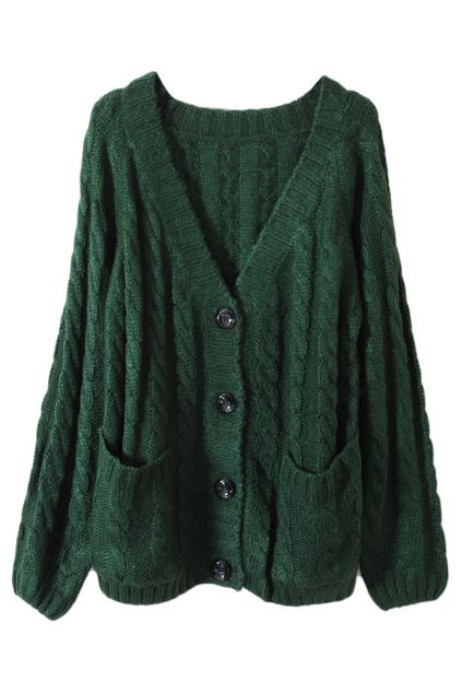 Chunky Cable Knit Blackish Green Cardigan. WANT.