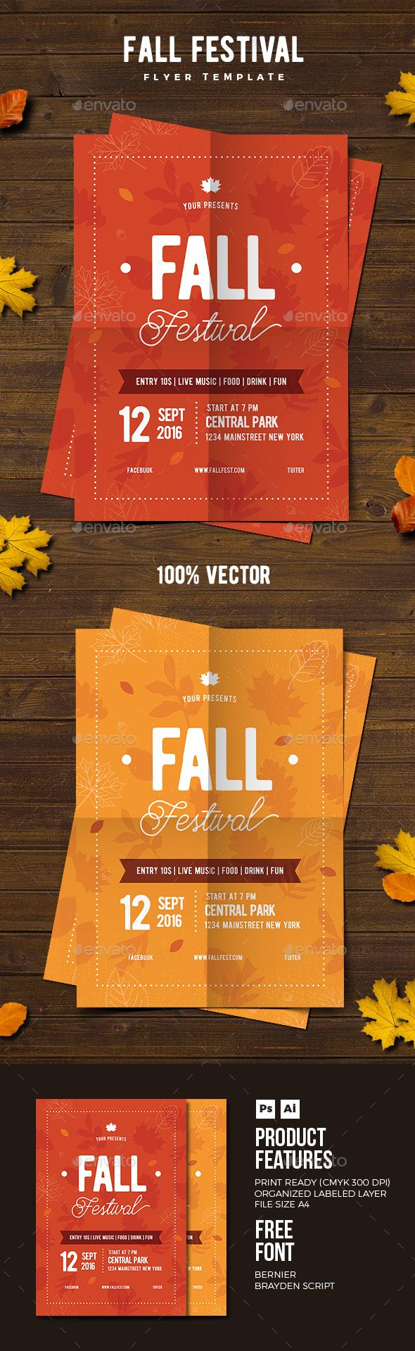 fall festival flyer 02 psd template november yellow leaf