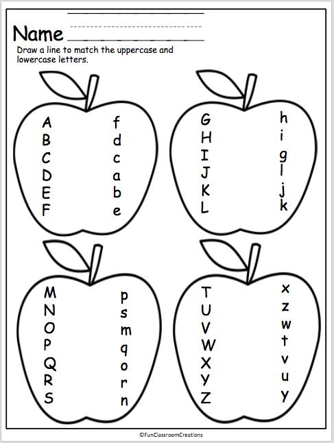 apple letter matching page classroom ideas kindergarten assessment kindergarten worksheets. Black Bedroom Furniture Sets. Home Design Ideas