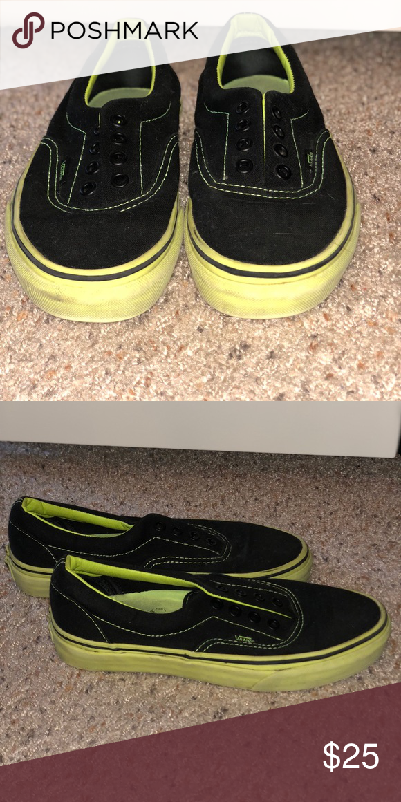 8dafebf8144 Black and neon green Vans Worn a few times
