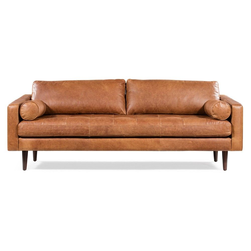 Florence Mid Century Modern Sofa Cognac Tan Poly Bark Modern Leather Sofa Leather Sofa Mid Century Modern Sofa