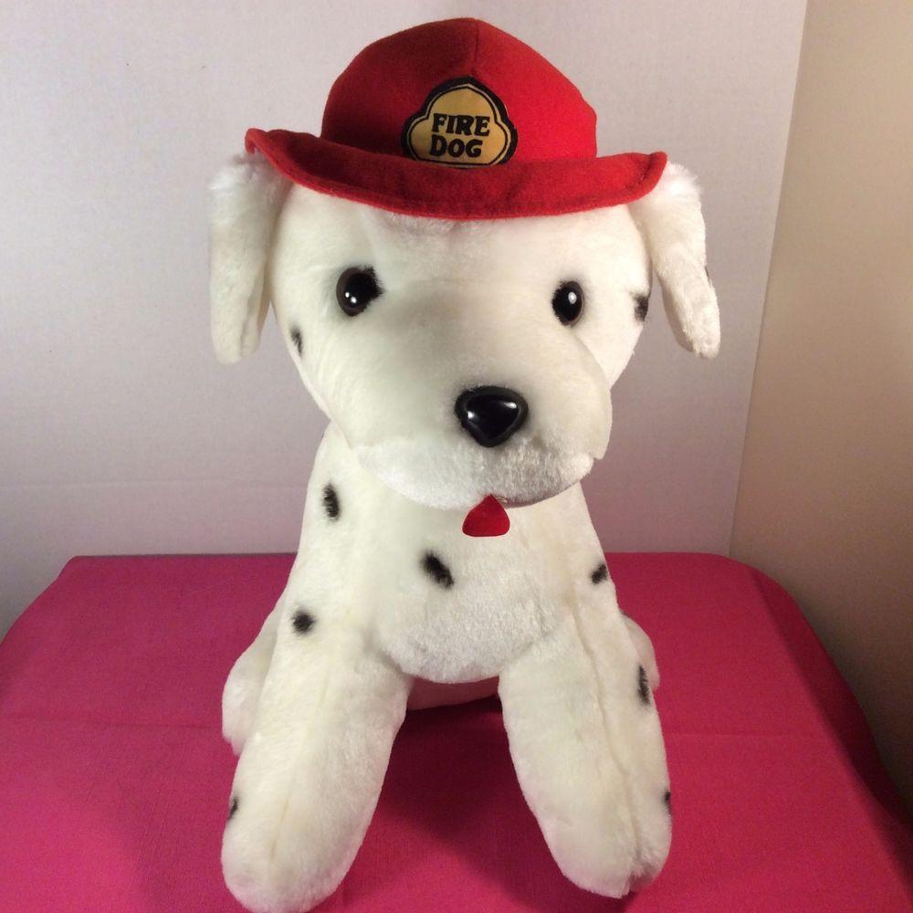 soft things inc plush white black spots fire dog dalmatian  - plush white black spots fire dog dalmatian stuffed animal  h