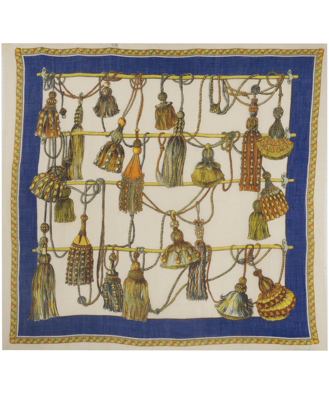 Blue Tassel Print Wool-Blend Shawl, Manipuri.   Print   Pattern ... 0fddd99bdf5