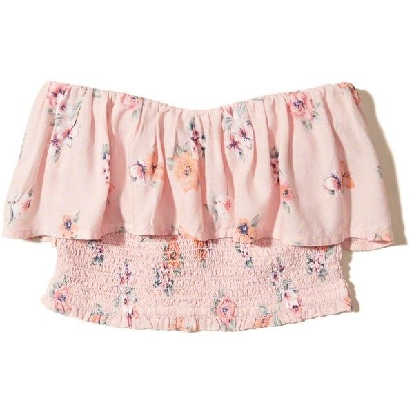 31b6903adeb Hollister Smocked Ruffle Crop Tube Top ($12) ❤ liked on Polyvore featuring  tops, pink floral, sweetheart crop top, cropped tops, smock top, pink  floral top ...