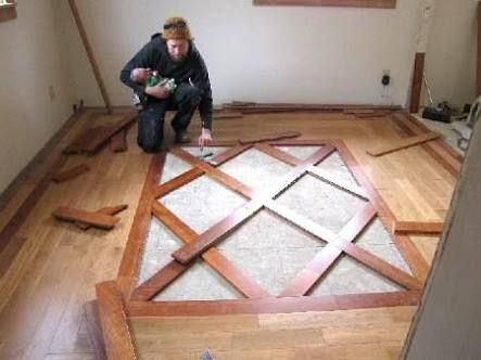 Wood flooring with tile inlays google search flooring for Inlaid wood floor designs