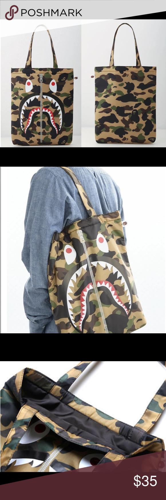"37206f8002b A Bathing Ape Bape Shark Camo tote shoulder bag Quantity  1 unit. Size   12.2"" (W) x 14.5"