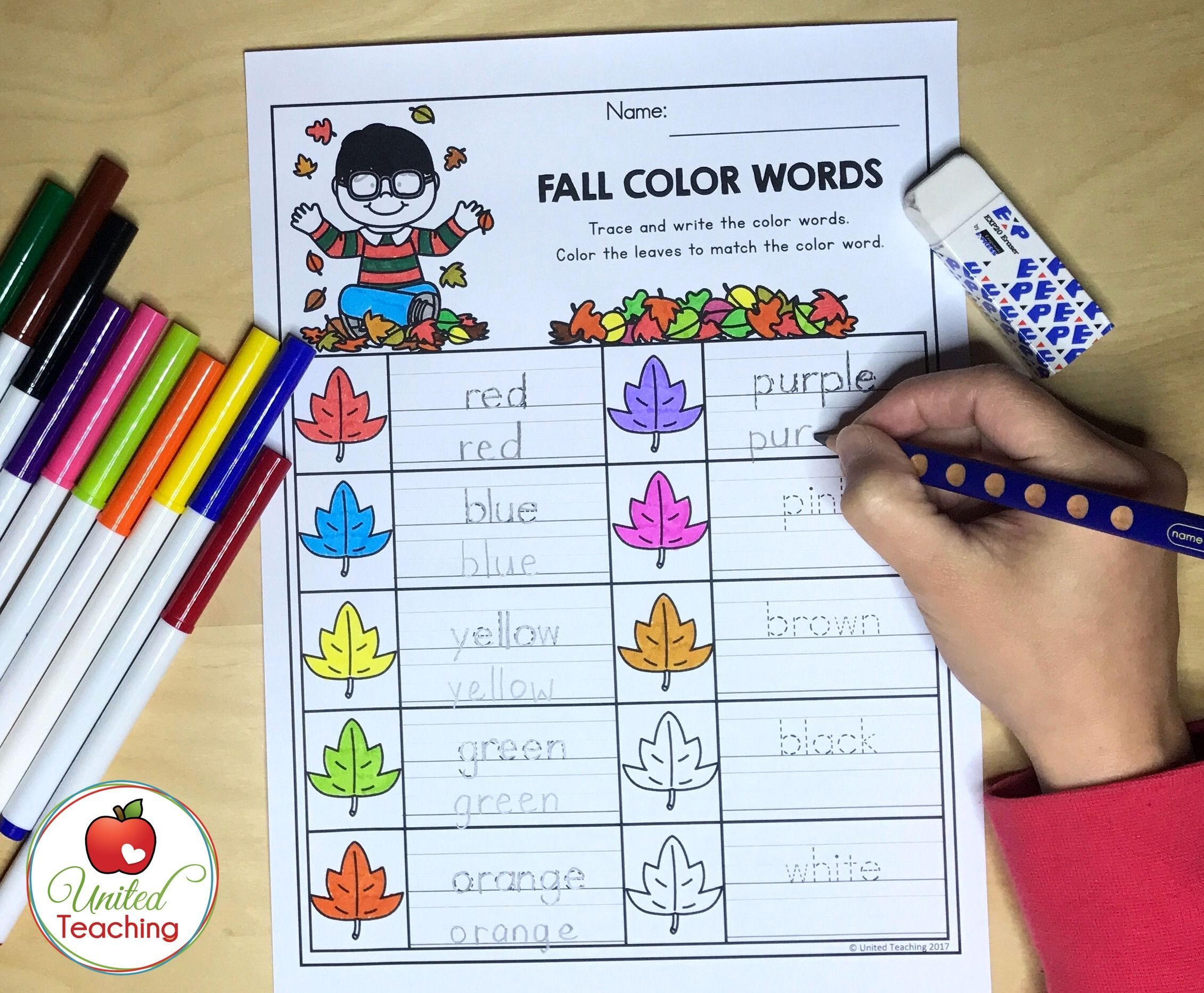 Fall Color Words - trace and write the color words. Practice ...