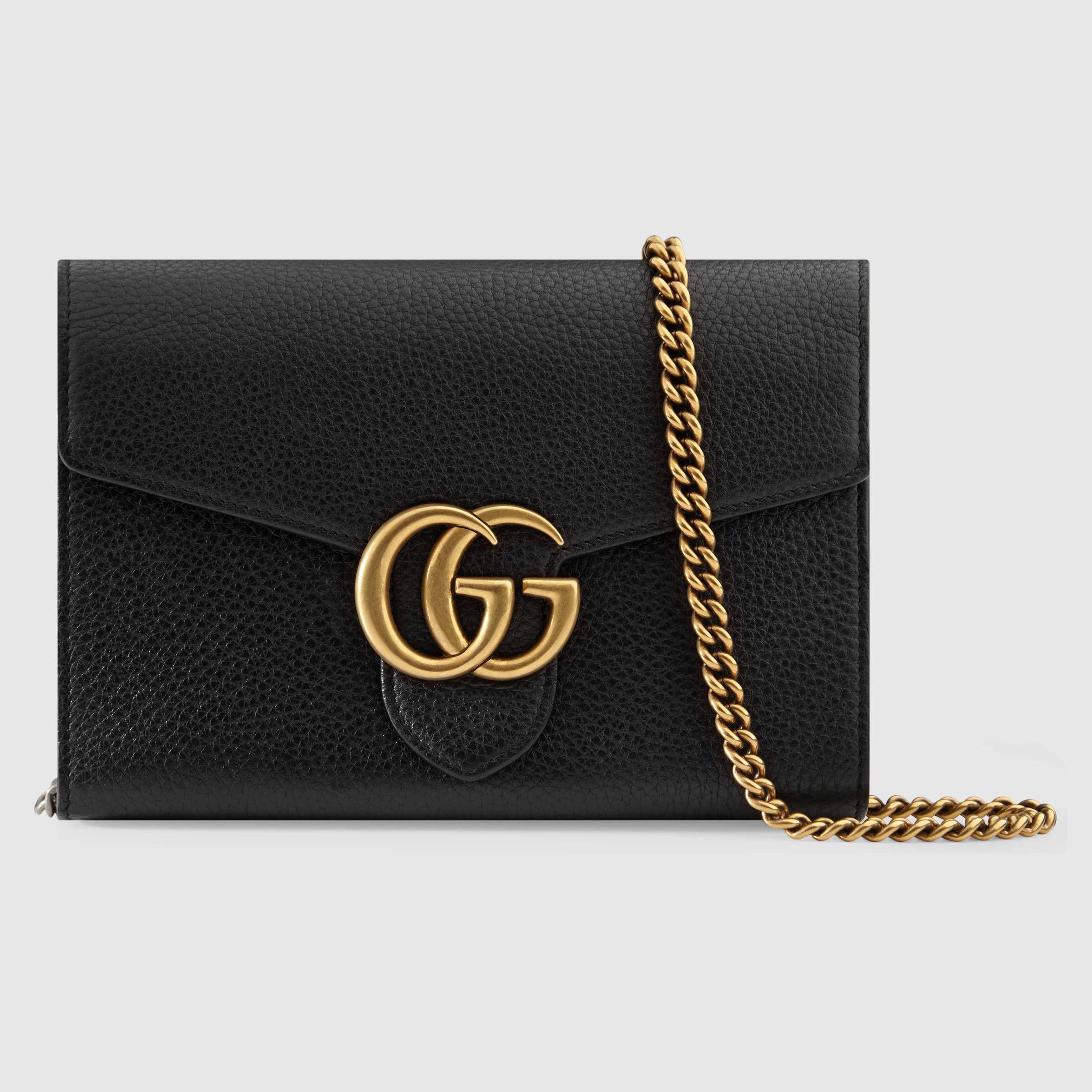 Gucci Gg Marmont Leather Mini Chain Bag Mini Chain Bag Gucci Chain Bag Genuine Leather Bags
