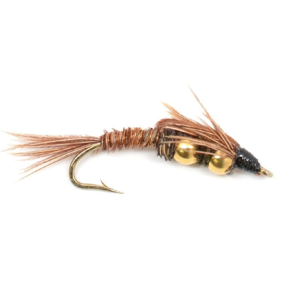 2 Flies Double Bead Brown Stonefly Nymph  Fly Fishing Flies Size 6
