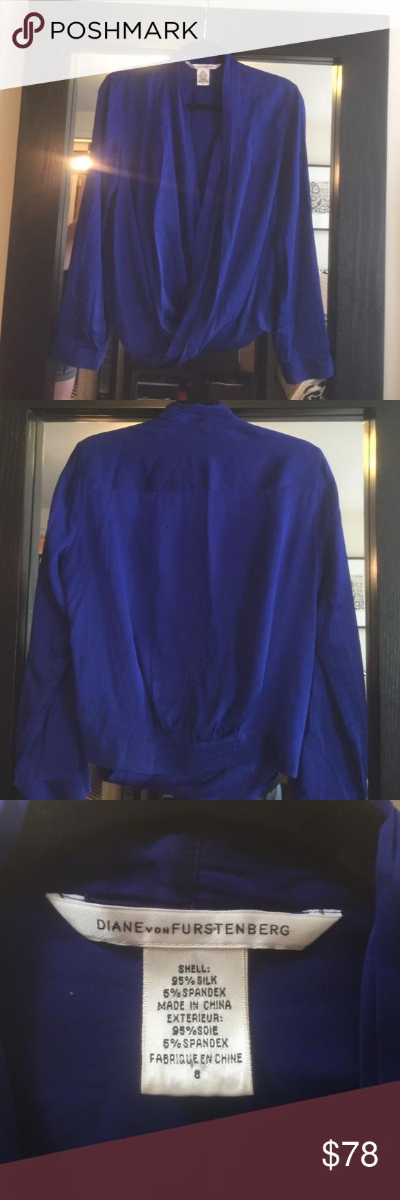 DVF Top Beautiful royal blue DVF silk top!  In great condition. Diane von Furstenberg Tops