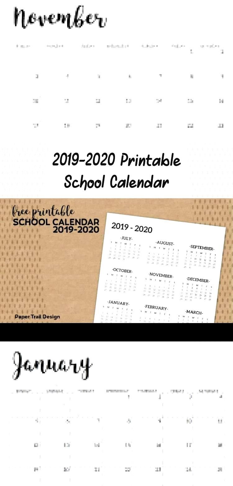 2019-2020 Printable School Calendar to use in the classroom or for a student bin...,  2019-2020 Pri