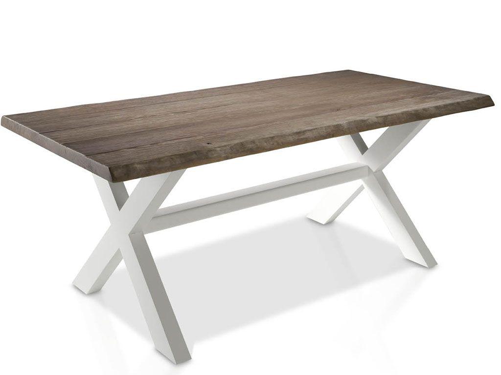 mesa de comedor estilo contemporneo con estructura de madera de mobila con tapa araada artesanalmente