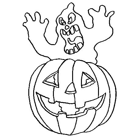 Citrouille D Halloween Et Fantome Hurleur Coloriage Halloween