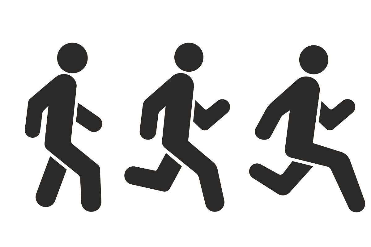 Racing Running And Walking Icon V Silhouette Man Icon Pictogram