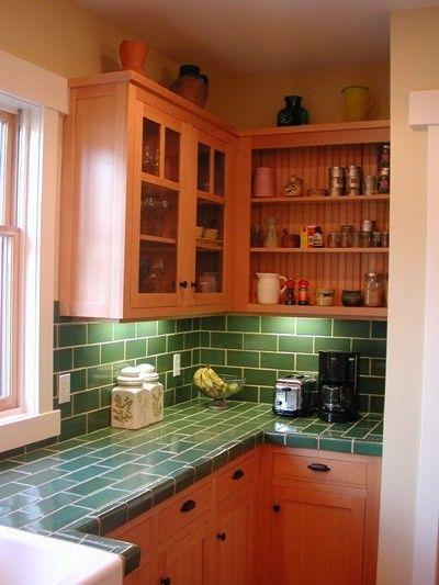 craftsman & green tile - under cabinet lighting. | Home | Pinterest