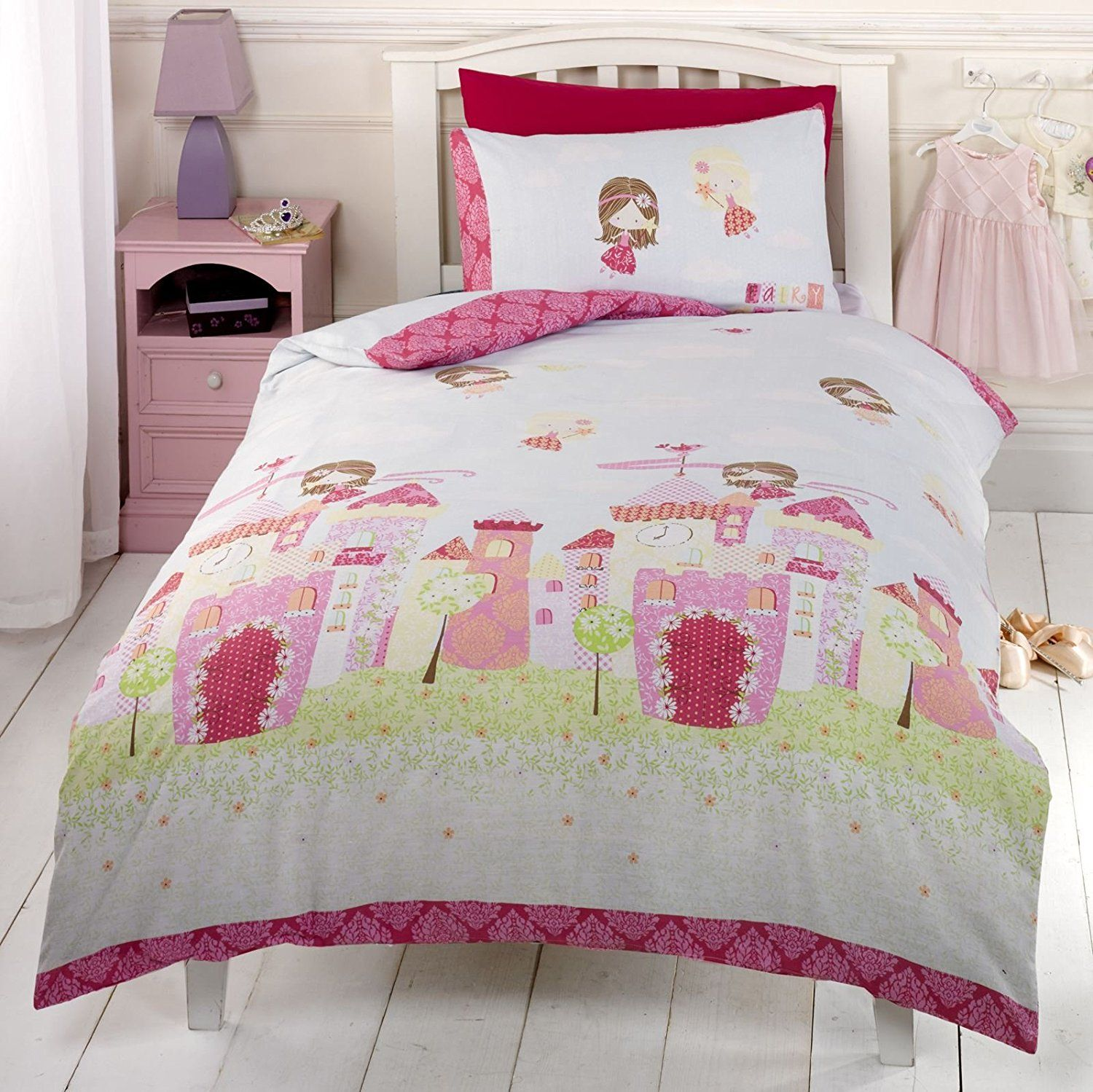 Bedroom sets for girls pink - Girls Pink Fairy Castle Fairy Tale Princess Single Duvet Cover Bedding Bed Set
