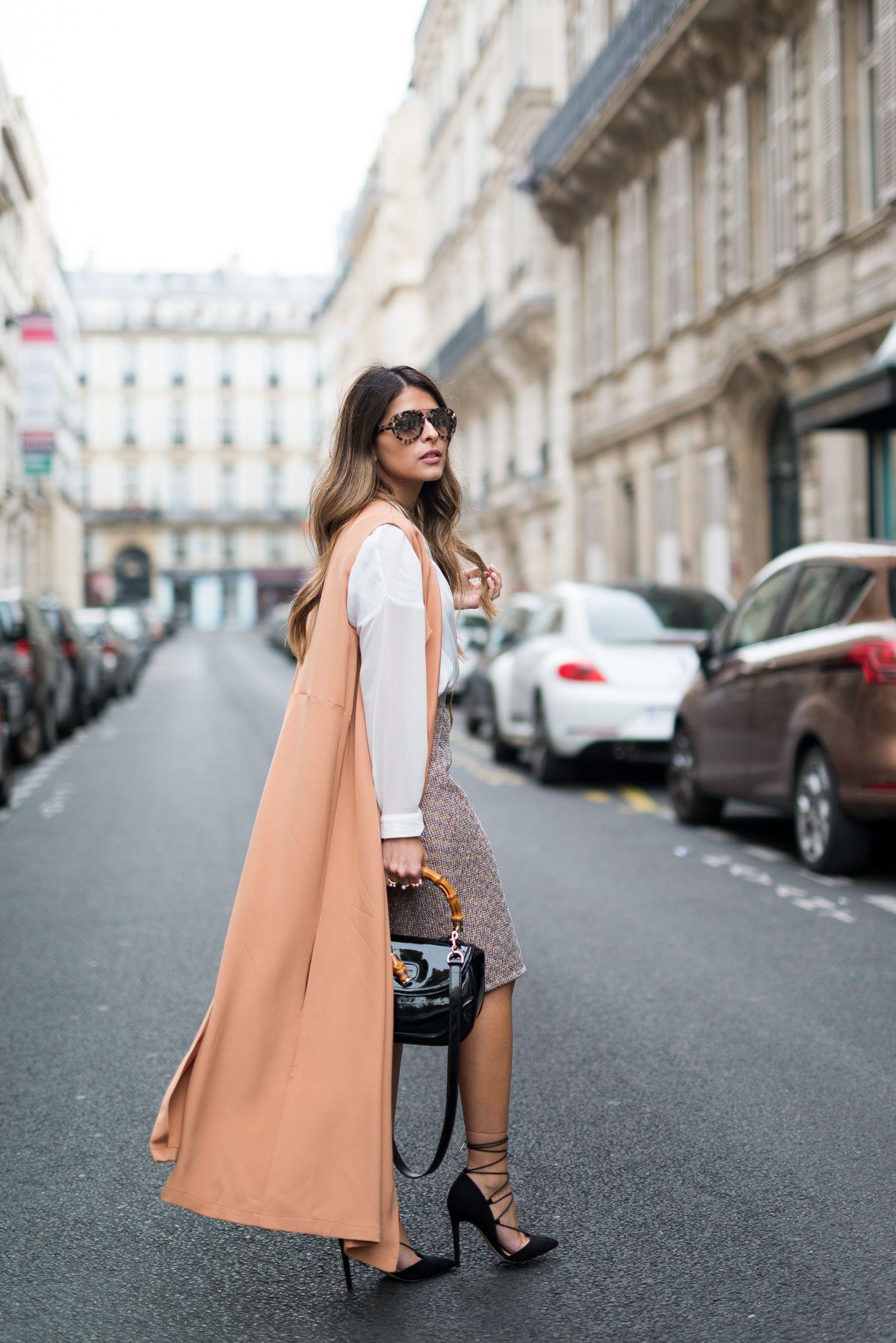 Paris-Fashion-Week-Pam-Hetlinger-The-Kayys-Trench-Dress-J.Crew-Skirt-White-Shirt-Lace-up-Pumps