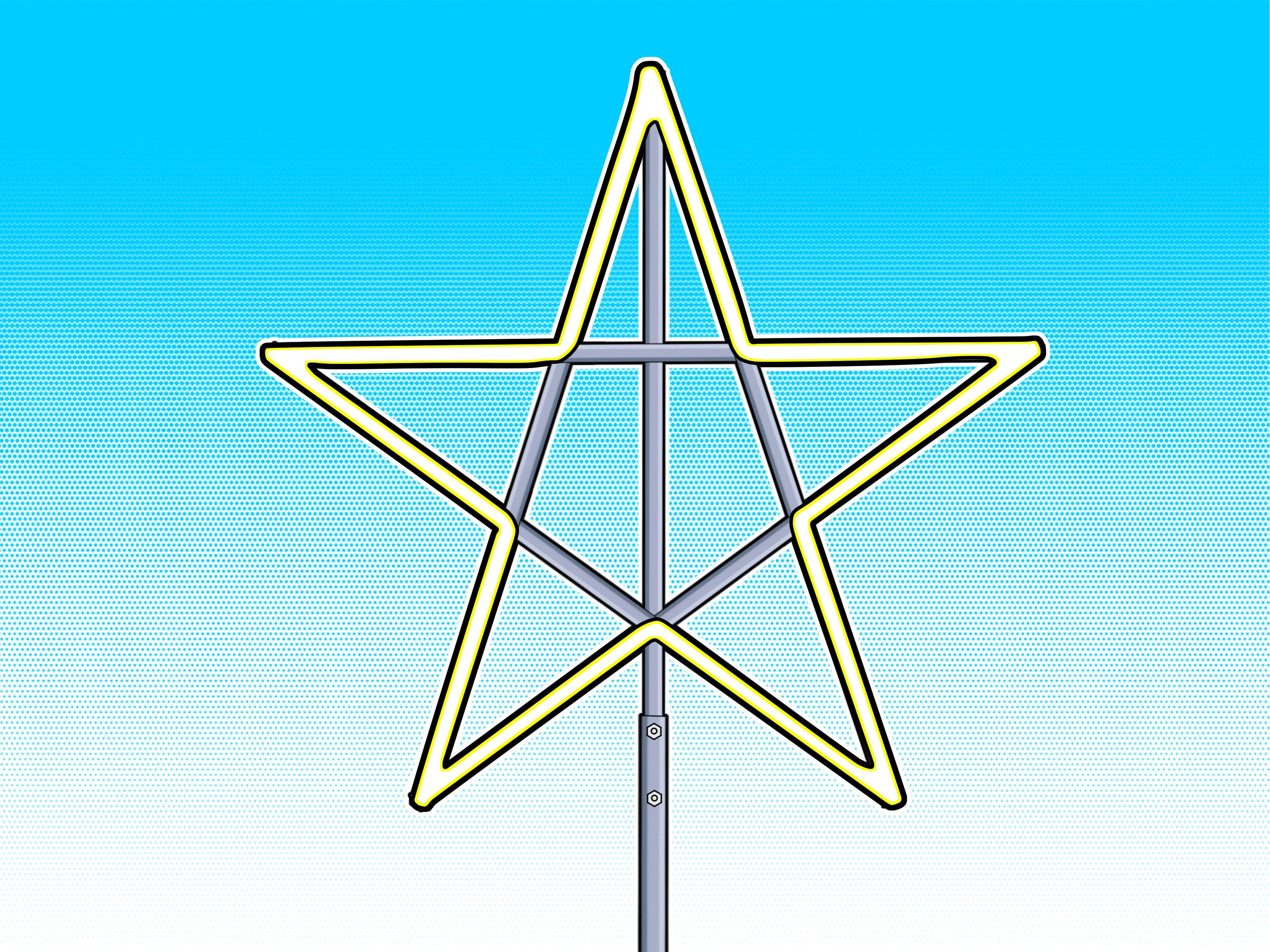 How To Make A Large Christmas Star Christmas Star Outdoor Christmas Light Displays Christmas Lights Outside