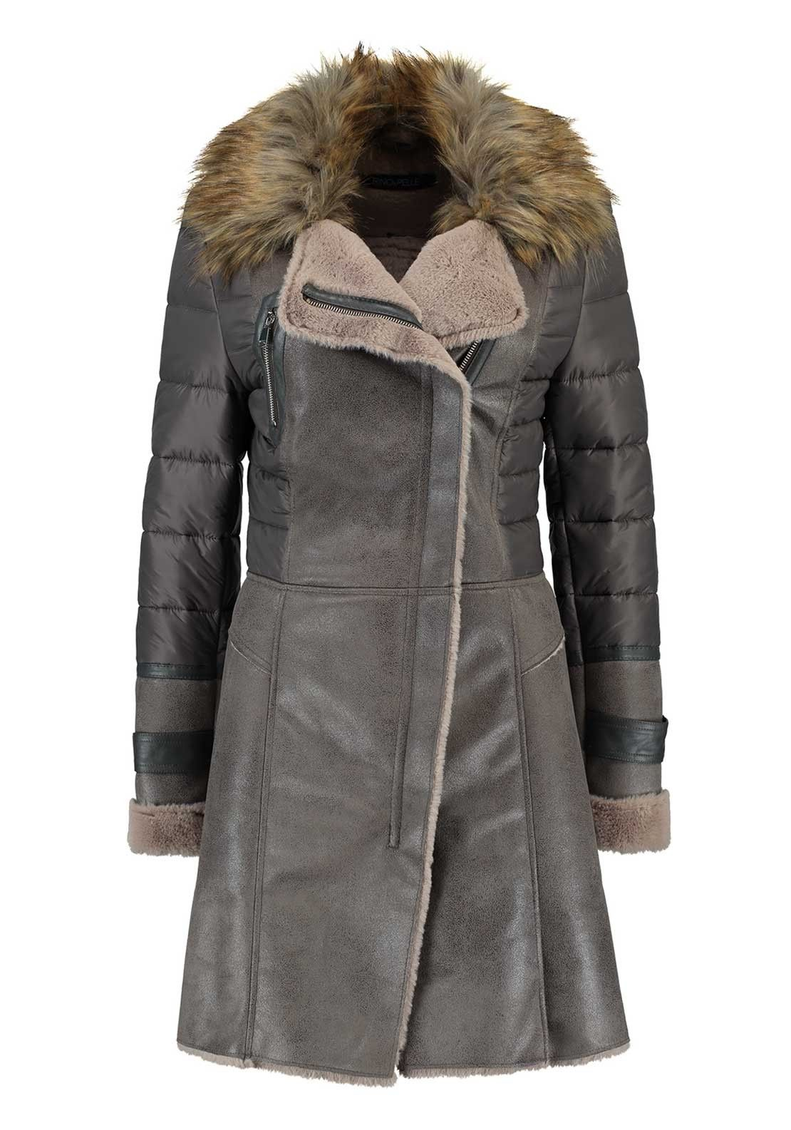 2a5eb3b27b1 Rino & Pelle Rhea Faux Suede Padded Coat, Grey | Clothes • Casual ...