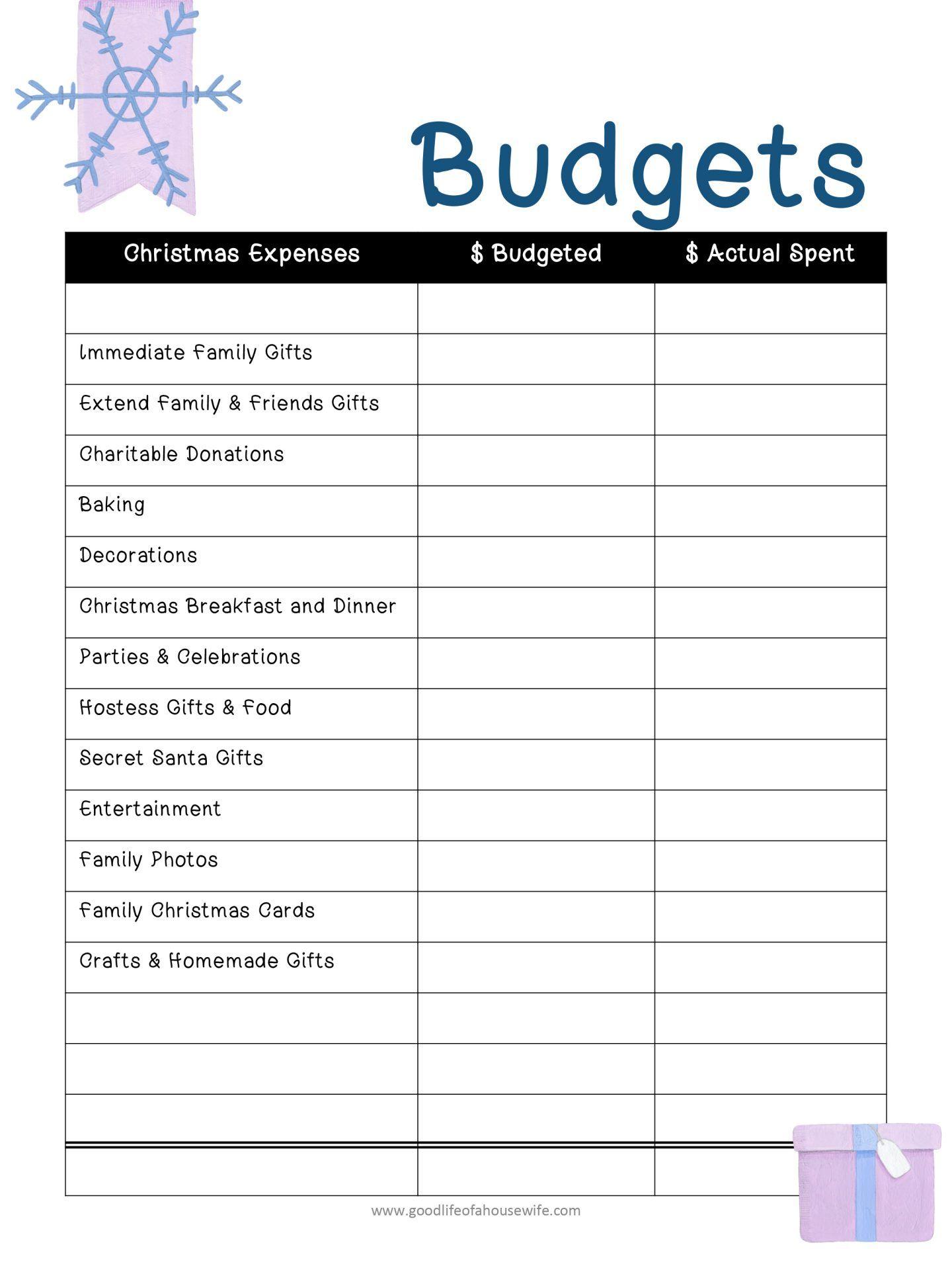 christmas printables and budget planner free printables