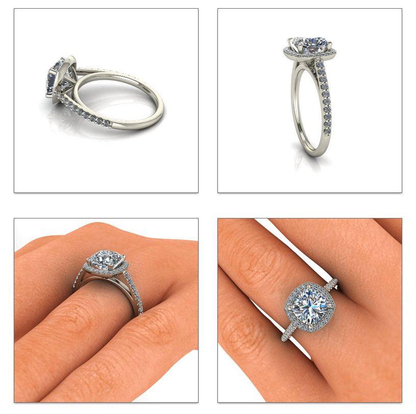 Cushion Moissanite Engagement Ring Forever Brilliant by RareEarth, $1,900.00