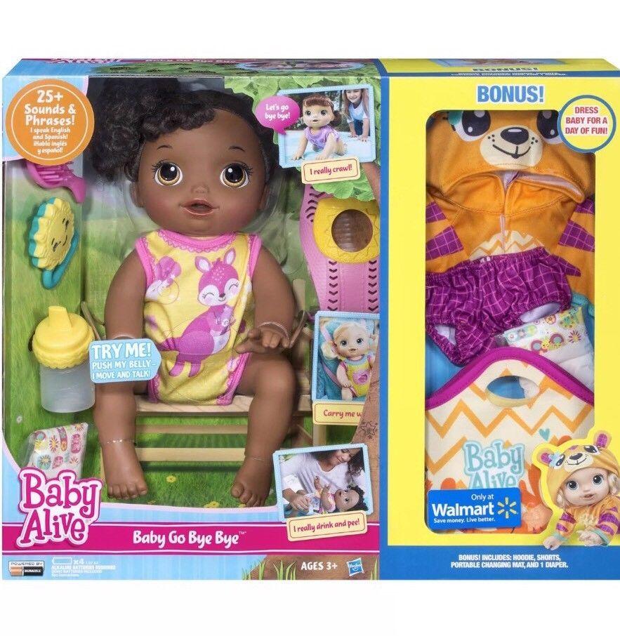 Baby Alive Go Bye Bye African American Doll With Bonus Hoodie Shorts Etc New Ebay Baby Alive Baby Alive Dolls Walmart Baby