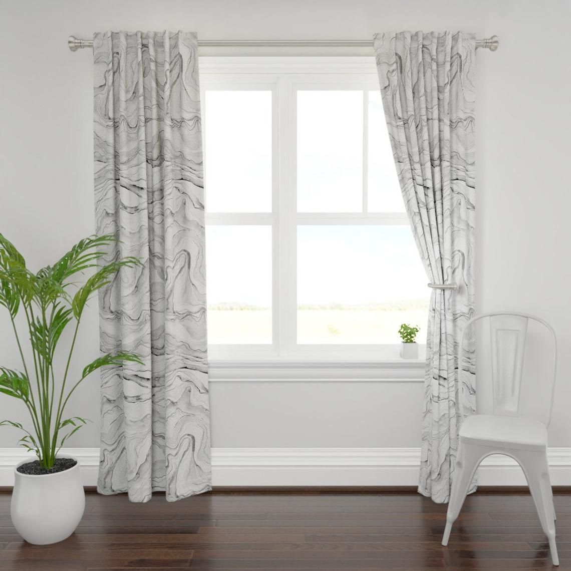 Marble Curtain Panel Grey Watercolor Marbled Stone By