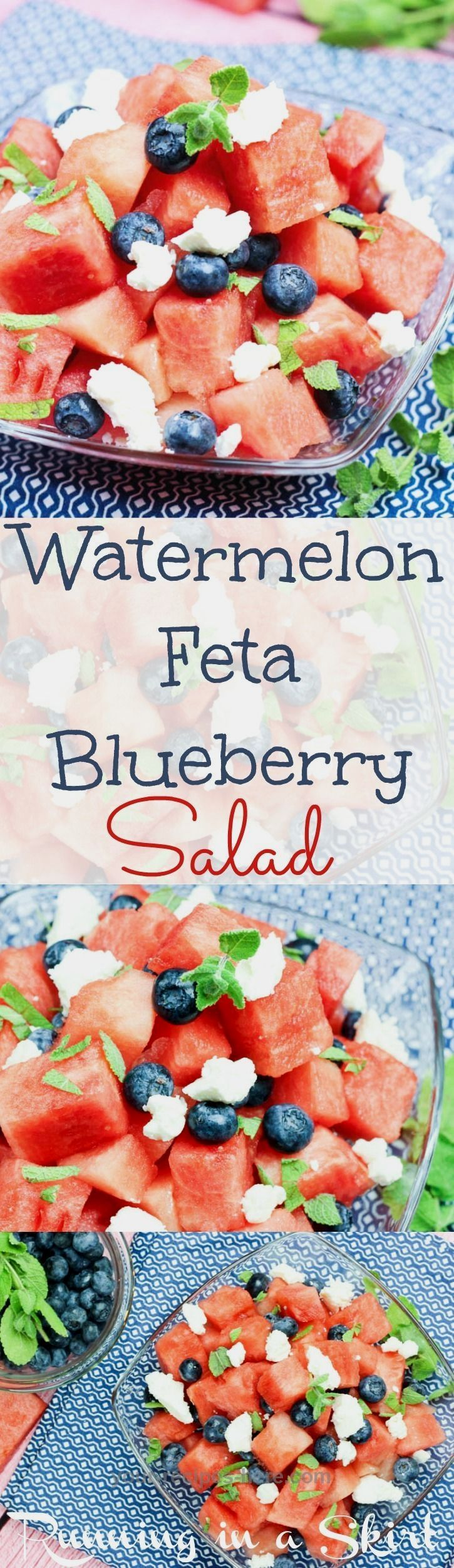 Watermelon Salad with feta and blueberries recipe. With honey lime dressing and mint. The best simple and easy salad for summer parties. Perfect red, white and blue food idea for 4th of July Food, Memorial Day or Labor Day. Healthy, fun and oh so sweet! / Running in a Skirt #labordayfoodideas Watermelon Salad with feta and blueberries recipe. With honey lime dressing and mint. The best simple and easy salad for summer parties. Perfect red, white and blue food idea for 4th of July Food, Memorial #labordayfoodideas