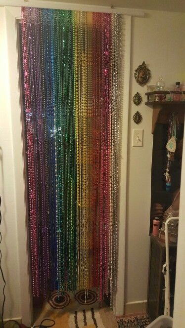 Mardi Gras Beads Into A Beaded Door Curtain Beaded Door Curtains Door Beads Hanging Door Beads