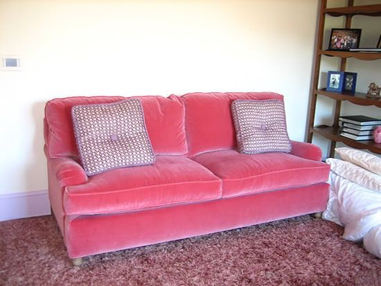Velvet Upholstery Little Green Notebook Pink Couch Sofa