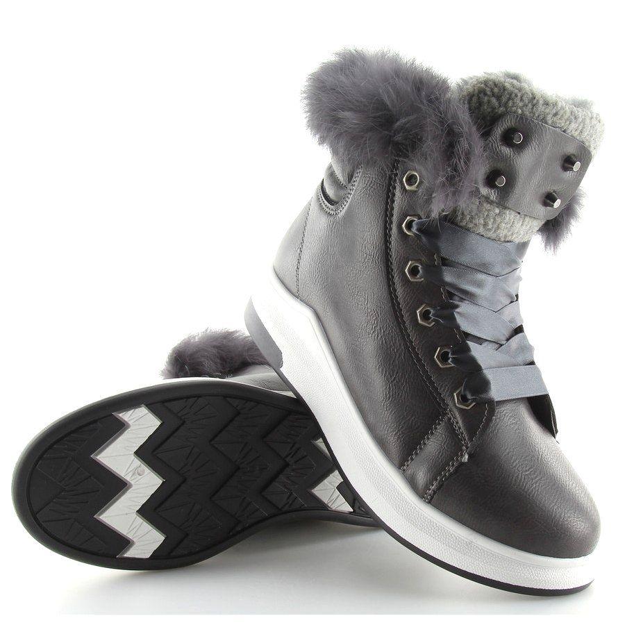 Sportowe Damskie Obuwiedamskie Szare Ocieplane Buty Sportowe Kb 039 D Grey Obuwie Damskie High Top Sneakers Shoes Sneakers