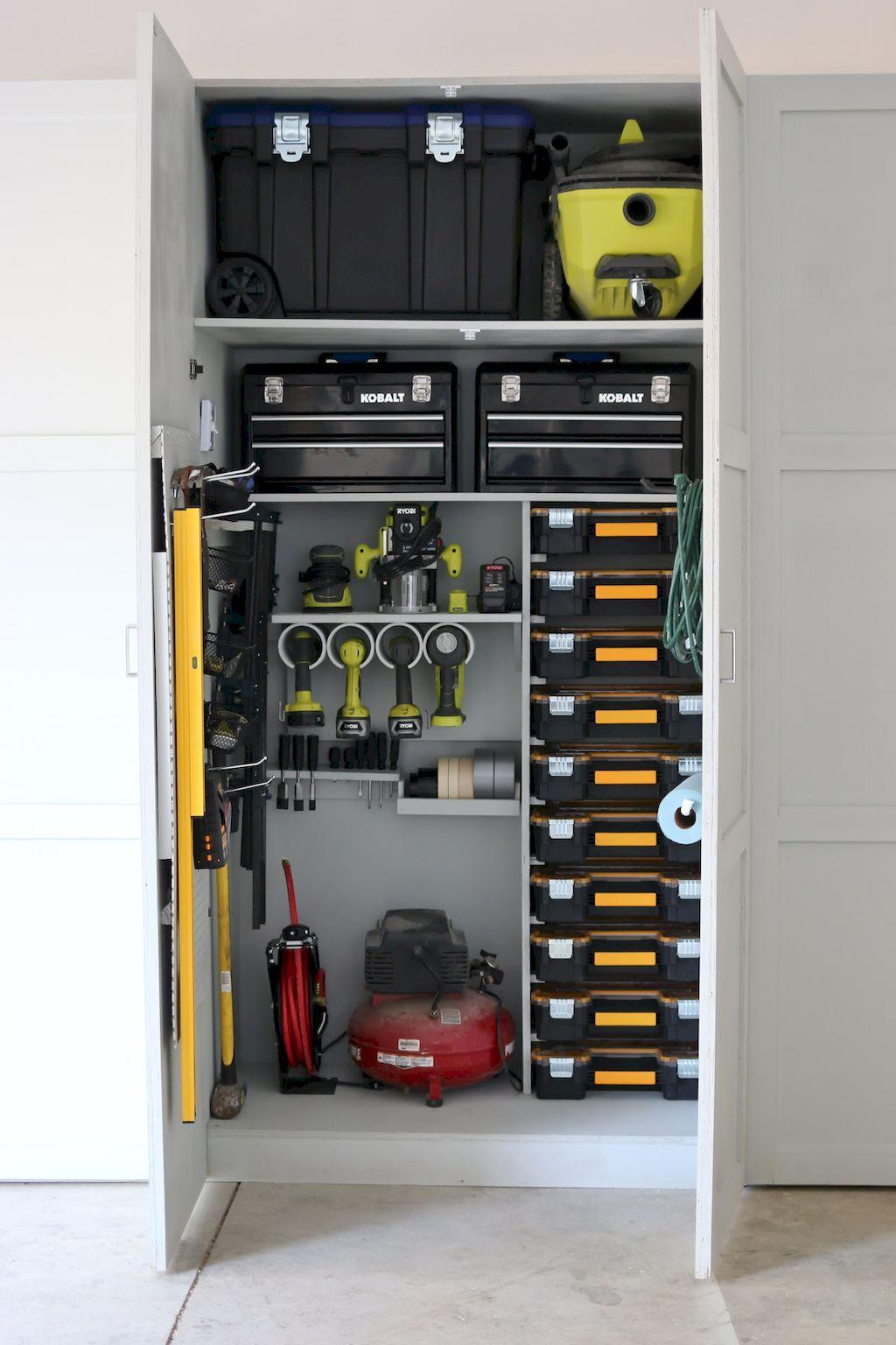 60 Simple Tools Organized With Garage Design Ideas Rangement Garage Astuce Rangement Armoire Rangement Garage