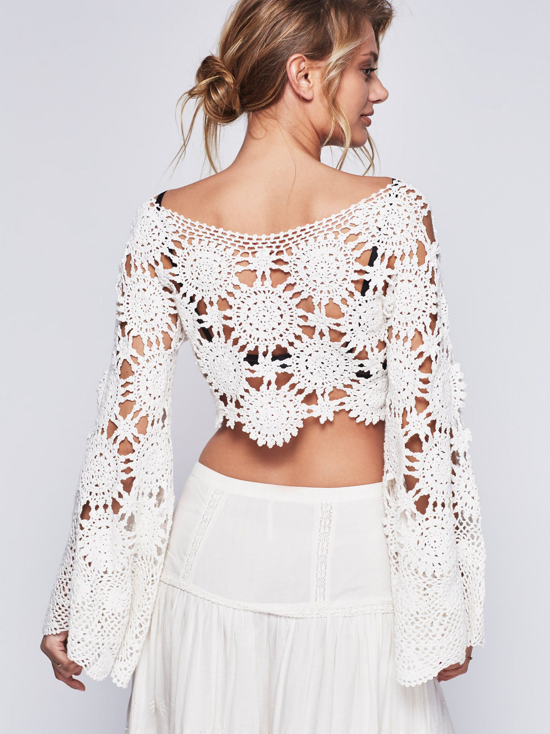 Cropped Crochet Lace Bell Sleeve Top