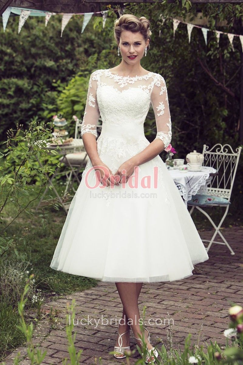 Ivory Lace And Tulle Tea Length Wedding Dress In 2020 Tea Length Wedding Dress Vintage Lace Wedding Dress Vintage Tea Length Dresses,Black Dress For A Wedding