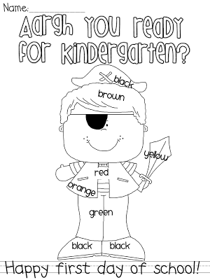 FREE pirate-themed 1st day coloring page.