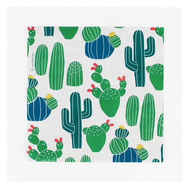 Cacti print party napkins Set of 20 Fiesta paper napkins Cactus paper napkins Cactus party decor Desert party napkins Cactus napkins.
