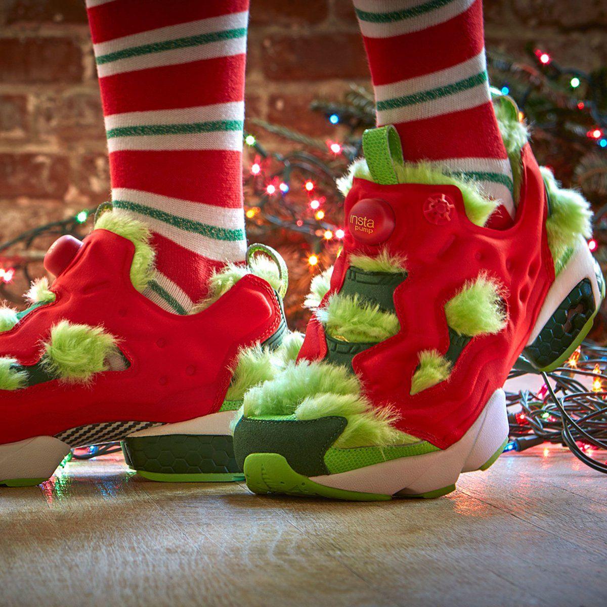Reebok Sneakers Crazy Weird Strange Shoes Red Fluffy Fur Green Christmas  Nike Trainers Adidas Kicks a0b6d1472