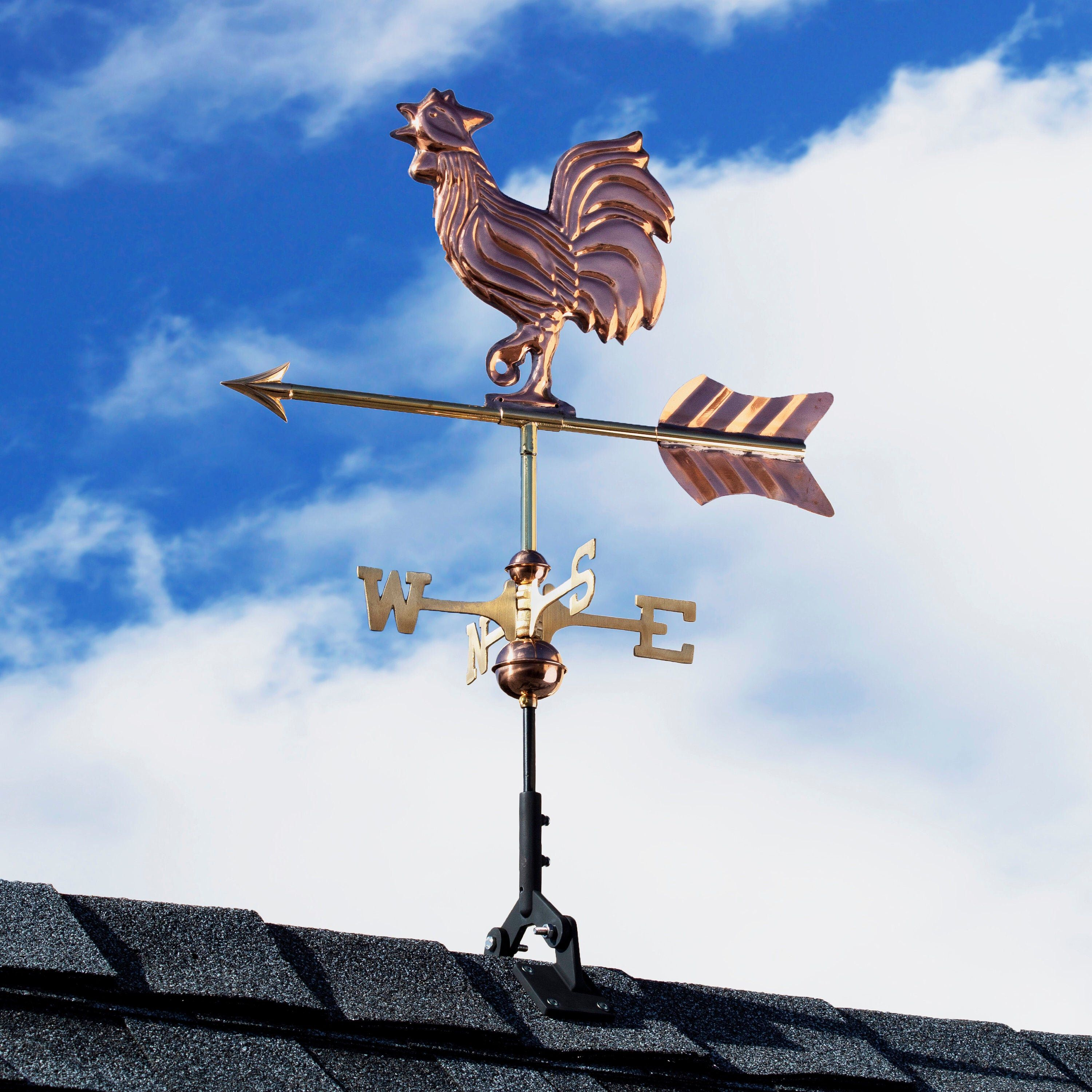 Rooster Weathervane Pure Copper With A Roof Mount Or Garden Etsy Garden Poles Pure Copper Fibreglass Roof