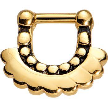 "16 Gauge 1/4"" Gold Anodized Aztec Angel Septum Clicker | Body Candy Body Jewelry"