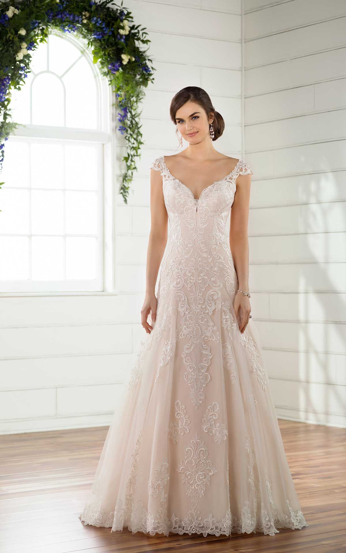 Lace cap sleeve a line wedding dress  Classic ALine Wedding Dress  Tulle gown Gowns and Wedding dress