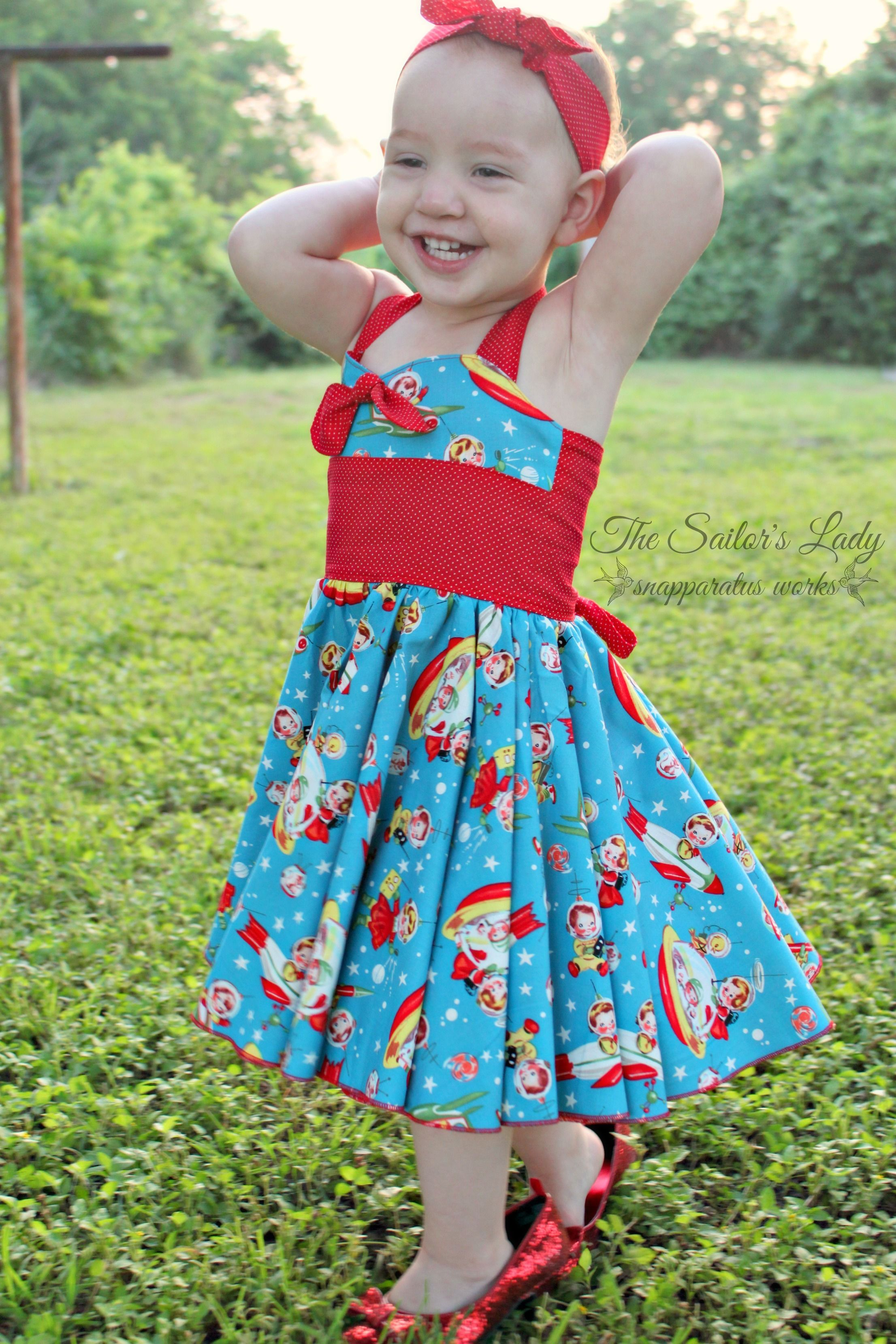 12e45edaa4d9 Create Kids Couture Baby Betty s Retro Swing Dress. Michael Miller s Retro  Rocket Rascals Fabric. Rockabilly baby dress. Astronaut baby dress.
