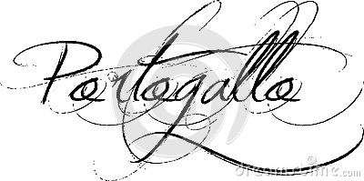 Portogallo or Portugal sign in old fashioned handwriting, white background.