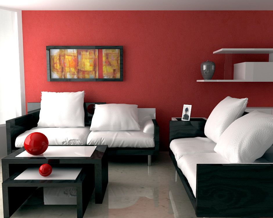 Beautiful Red Living Room Design Modern Red Living Room With Abstract Painting Living Room Red Living Room Paint Interior Design Living Room #paint #living #room #red