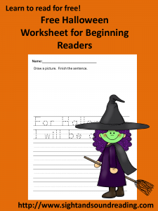Free Halloween Phonics Worksheet. More resources can be found at http://www.sightandsoundreading.com