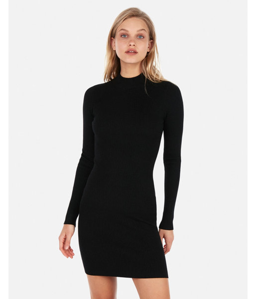 67e56d70e5223 Fitted Mock Neck Ribbed Sweater Dress Black Women's XXS | Products ...