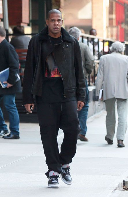 5c51d112b66 Jay-Z-Givenchy-givenchy-black-leather-and-shearling-biker-jacket -sweatpants-Jesus-is-Lord-t-shirt-Air-Jordan-3-Sneakers